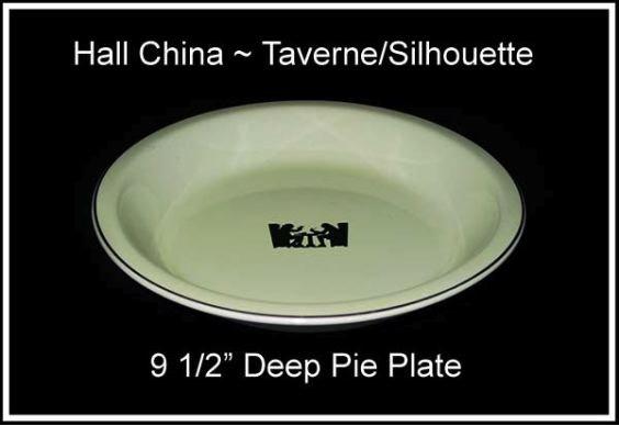 "Hall Taverne Silhouette 9 1/2"" Deep Pie Dish Platinum T"