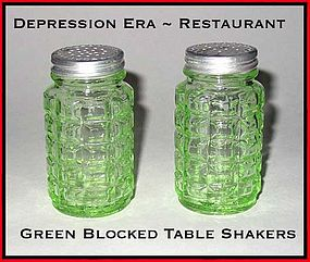 Restaurant Ware Green Blocked Cafe Table Shakers~ Nice!
