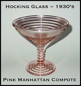 Hocking Glass Pink Manhattan Champagne Comport