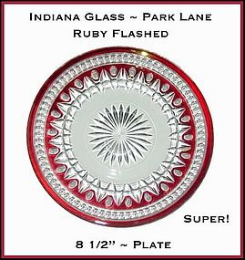 Ruby Flashed 1957 Indiana Glass Park Lane Plate
