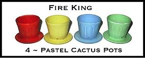 Fire King ~ 1940's 4 Fired On Pastel Color Cactus Pots