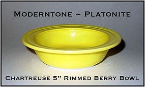 Moderntone Platonite Fired On Chartreuse Rimmed Berry