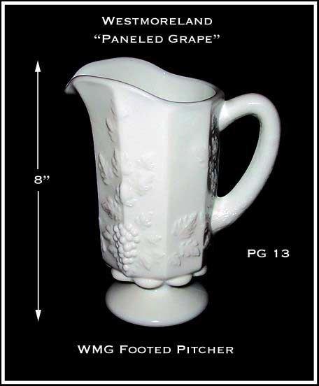 "Westmoreland Paneled Grape PG13 8"" Tall Pitcher"