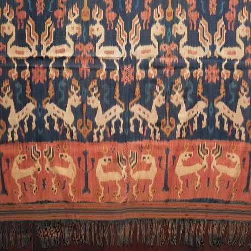 Sumba | Ikat Men�s Mantle with red dye (<i>Hinggi Kombu</i>)