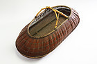 Japanese Bamboo basket with natural bamboo handle