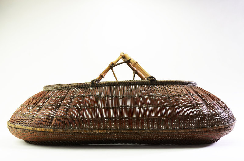 Japanese Bamboo basket with natural bamboo handle