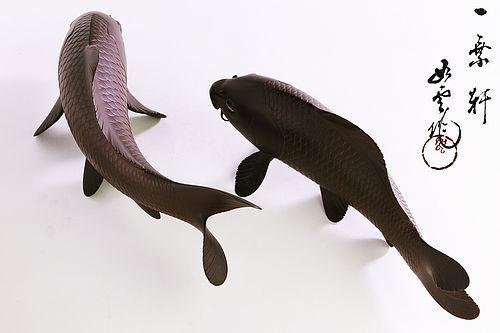 Japanese bronze Carps Okimono made by Oshima Jyoun