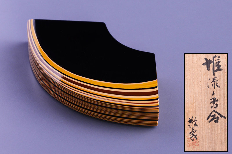 Japanese layered lacquer incense container made by Okabe Keisho