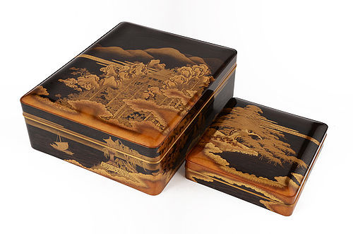 Japanese a set of Lacquer letter box and writing box with Ohmi Hakkei