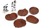 Japanese wooden tea tray 5pieces made by Takenaka Yuho