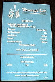 United Airlines Beverage Menu Card