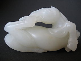Chinese White Jade Rollicking Horse