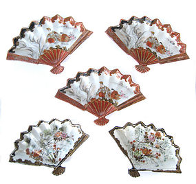 Japanese Set of 5 Small Kutani Fan Shaped Plates