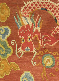 Long Tibetan Runner Rug with 5 dragons