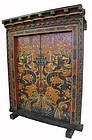 Tibetan Antique Set of Painted Doors with Dragons