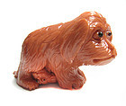 Chinese Carved Coral Figure of Dog with Puppy
