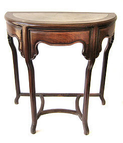 Chinese Antique Huali Wood Half Round Table with Marble