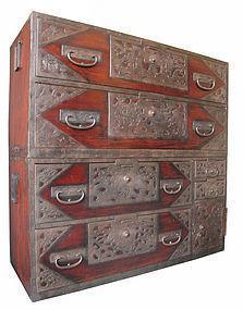 Japanese Antique Rare Isho Tansu from Sado Island
