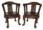 Chinese Pair of Carved Dragon Chairs