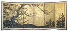 Japanese Antique 6 panel Sho Chiku Bai Screen Painting