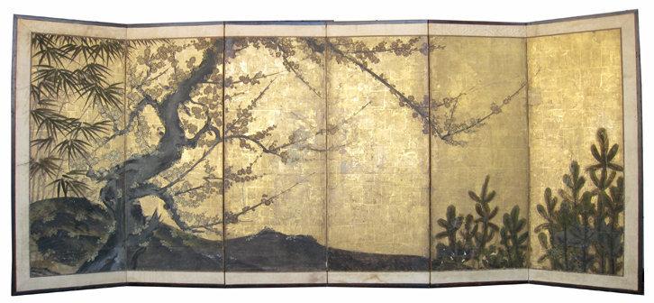 Japanese Antique 6 panel Sho Chiku Bai Screen Painting
