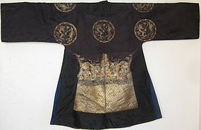 Antique Chinese Black Dragon and Phoenix Roundel Robe