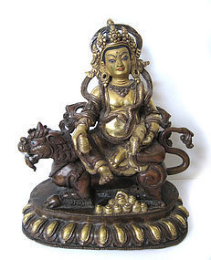 Gilt Bronze Figure of Kubera God of Wealth