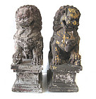 Chinese Pair of Large Antique Wooden Lions