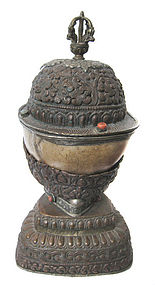 Nepalese Skull and Mixed Metal Ritual Chalice