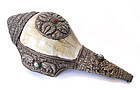 Nepalese Conch Shell with Silver Repouse