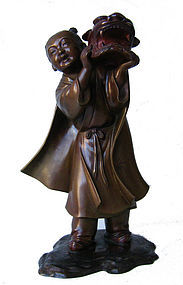 Meiji Bronze of Child with Fu Dog