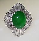 Chinese Emerald green Jadeite  and Diamond Ring