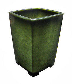 Chinese Spinach Jade Square Container with Calligraphy