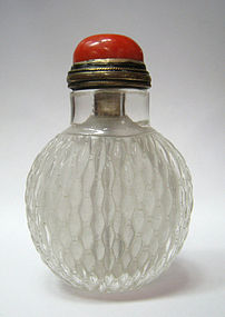Chinese Antique Carved Quartz Snuff Bottle