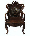 Antique Chinese Hardwood Chair with Inlay