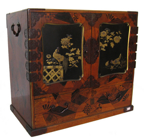 Japanese Lacquered Marquetry Cabinet
