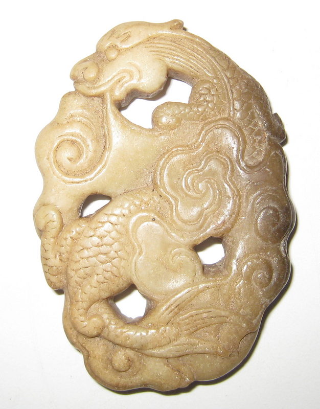 Antique Stone Chinese Dragon in Clouds
