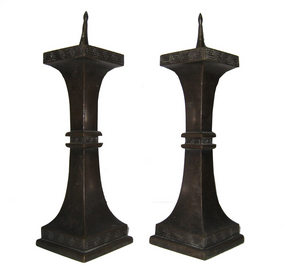 Antique Japanese Bronze Candle Stick Holders