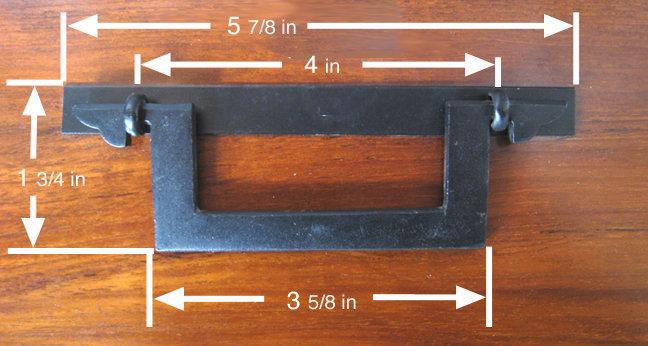 "5 7/8"" Japanese Square Iron Tansu Handle"