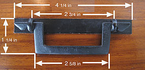 "4 1/4"" Japanese Square Iron Tansu Handle"
