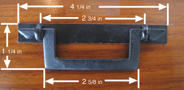 "4 1/4"" Japanese Square Iron Tansu Handle"