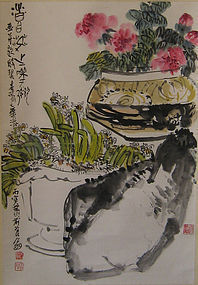 Antique Chinese Orchid Study Scroll