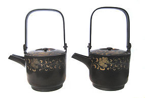 Japanese Antique Pair of Lacquer Sake Containers