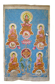Cambodian Temple Painting with 5 Buddhas