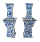 Pair of Chinese Antique Porcelain Candle Stands