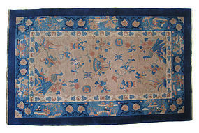 Chinese Antique Small Rug with Peacocks