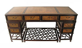 Chinese 4 piece Pedestal Desk with Burl Wood