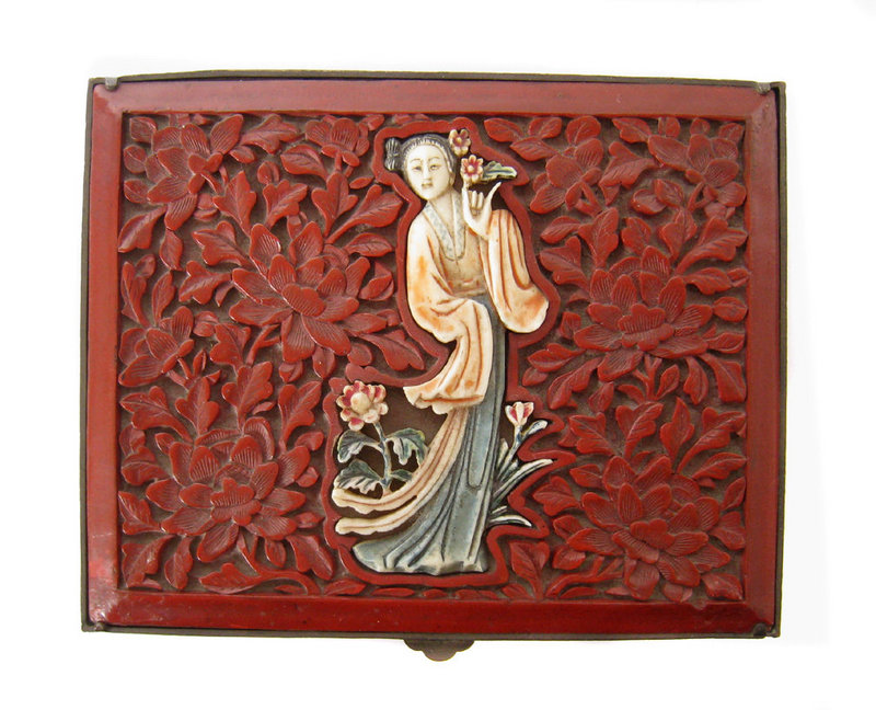Chinese Antique Small Cinnabar and  Brass Box with Lady