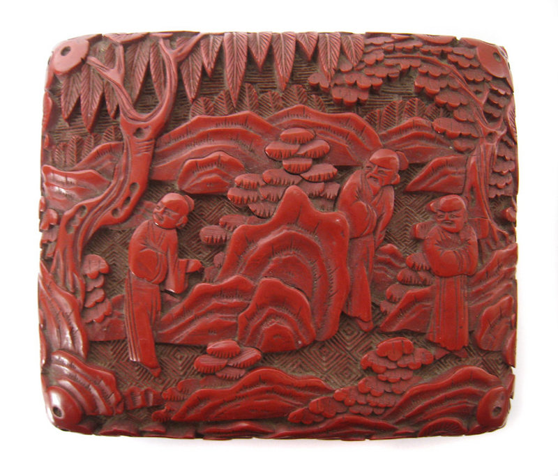 Chinese Antique Small Cinnabar Box with Figures
