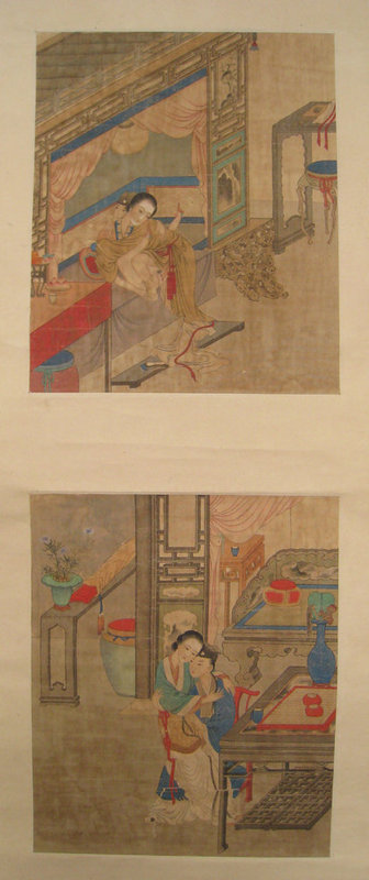Chinese Erotic Scroll Painting with Two Album Leaves